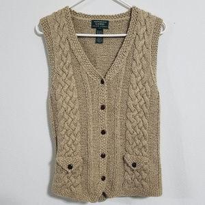Vtg Ralph Lauren Small Tan Hand Knit Sweater Vest